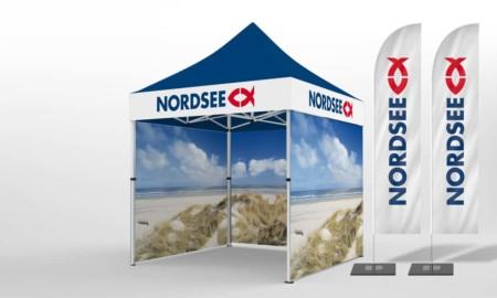 Faltpavillons 2x2 Nordsee mit Beachflags