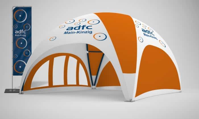 Pavillon kaufen mit Werbedruck, Beispiel Profi Dome-Pavillon 6x6