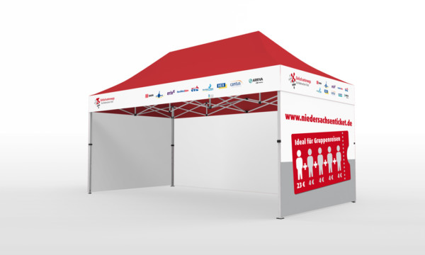 Falt-Pavillon 2x4 mit Firmen-Logo auf 4 Seiten