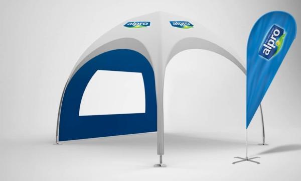 Alpro stahl-pavillon 3x3 mit werbung