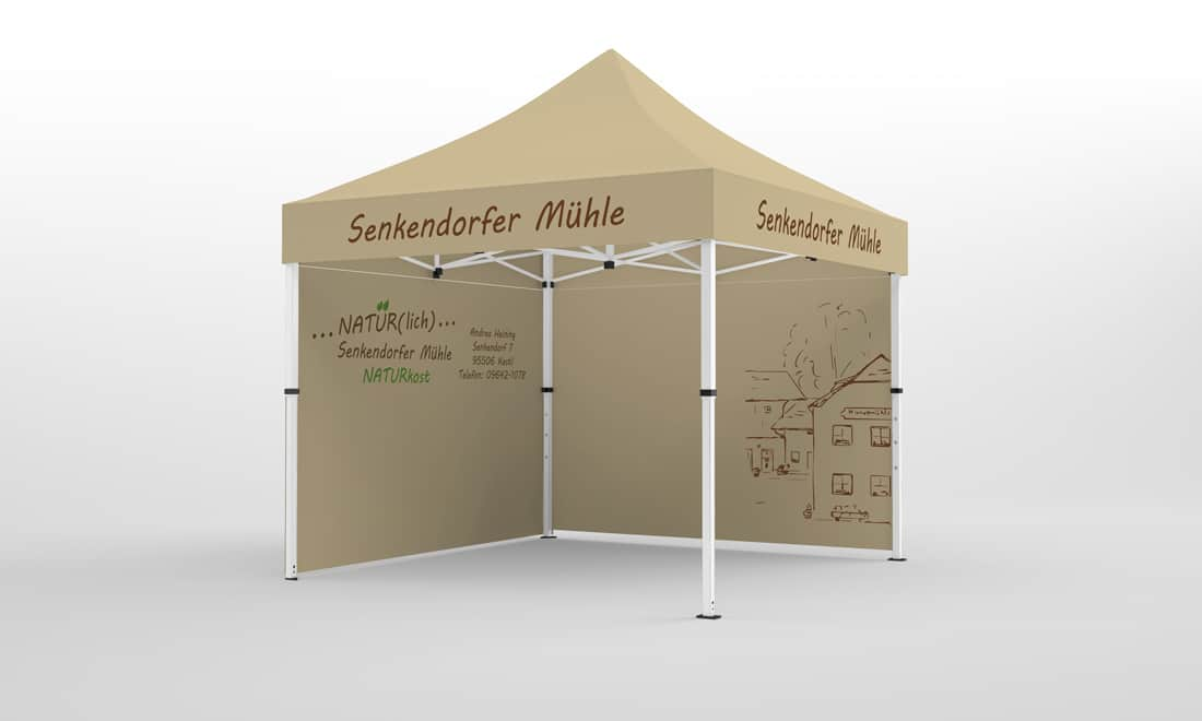 firmen-pavillon mit Werbung