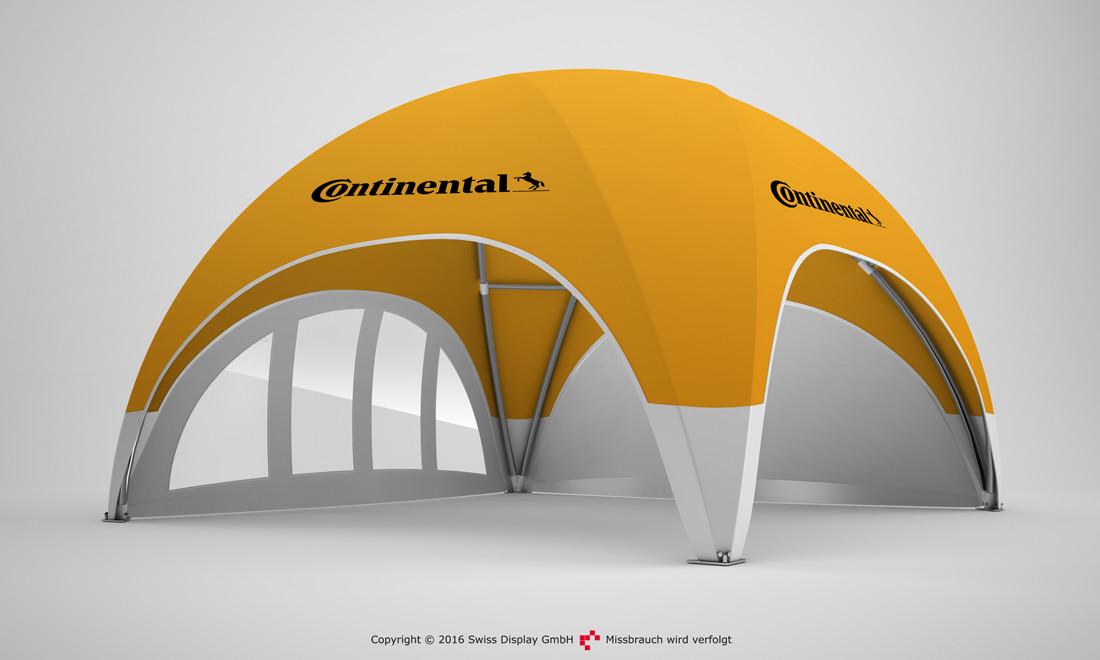 Pavillon kaufen mit Werbedruck, Beispiel Profi Dome-Pavillon 8x8