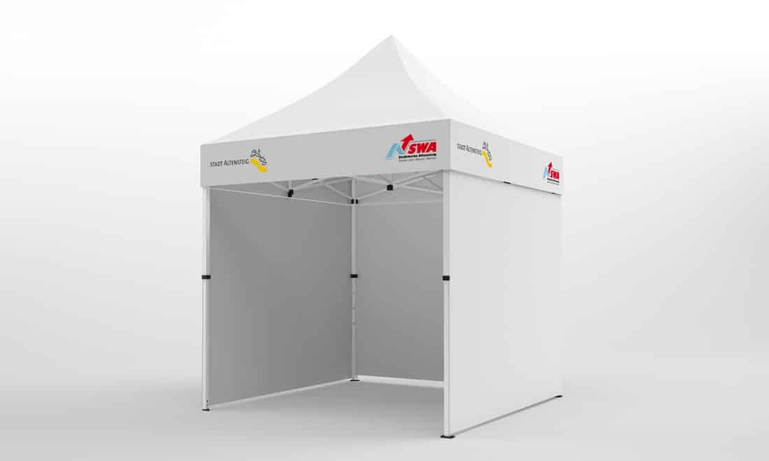 Falt-Pavillon 2x2 mit Firmen-Logo auf 4 Seiten