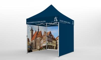 Faltpavillon 2x2 Seitenteil mit Werbedruck a.d. Innenseite