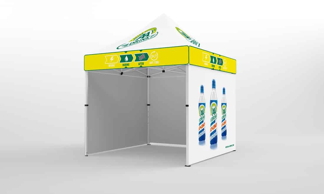 Faltpavillon 2x2 mit Hauptdach komplett bedruckt, Seitenteil mit Werbedruck a.d. Aussenseite