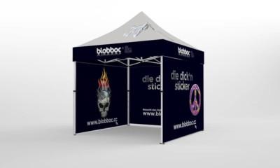 Faltpavillon 3x3 Seitenteile mit Werbedruck a.d. Aussenseiten und Innenseiten