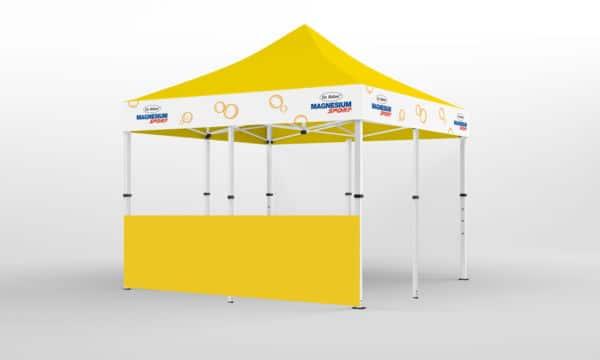 Falt-Pavillon 5x5 mit Firmen-Logo auf 4 Seiten