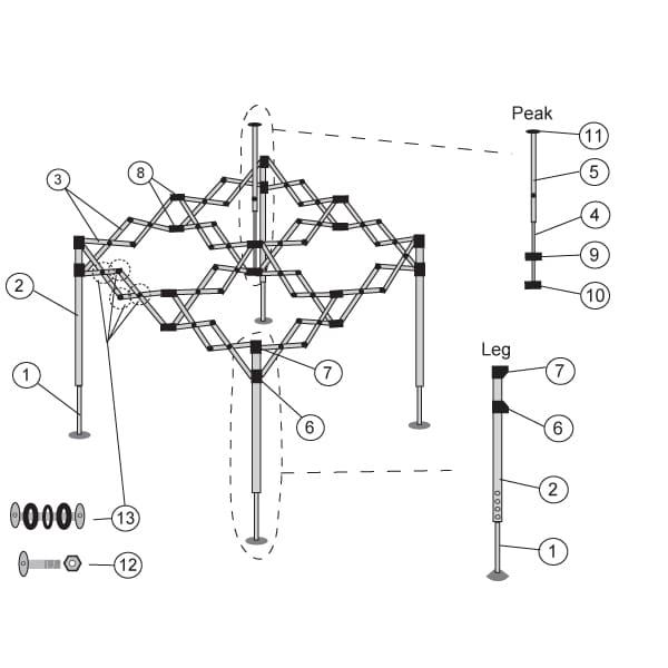 Faltpavillon 4x4 Ersatzteile