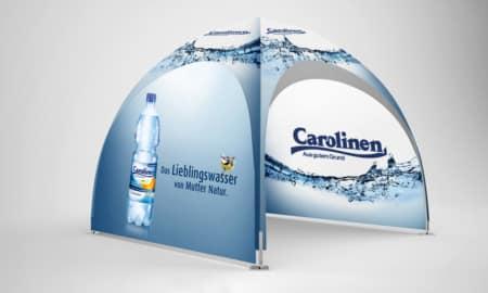 Pavillon kaufen mit Werbedruck, Beispiel Dome-Pavillon-3x3
