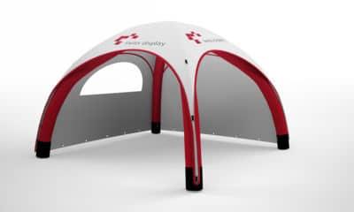 aufblasbarer pavillon 4x4 mit bedruckter dachplane