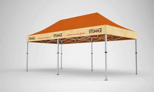 Falt-Pavillon 3x6 mit Firmen-Logo auf 4 Seiten + komplementäre Standard-Dachfarbe
