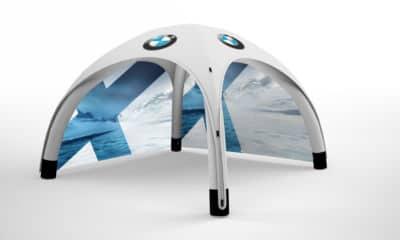 aufblasbarer pavillon 4x4 mit bedruckten seitenteilen