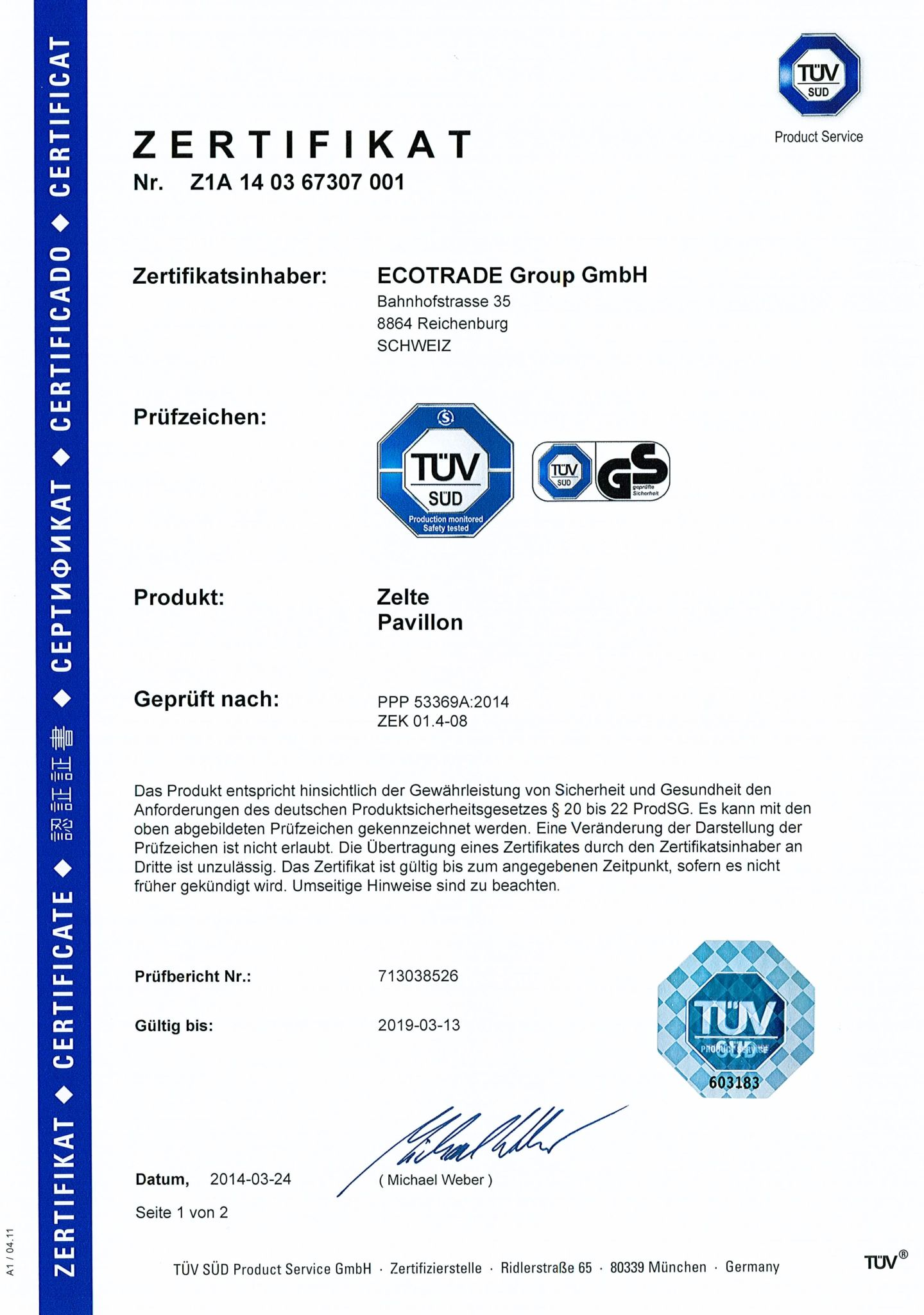 TÜV-Zertifikat Sicherheit und Gesundheit gewährleistet für Profi Faltpavillons