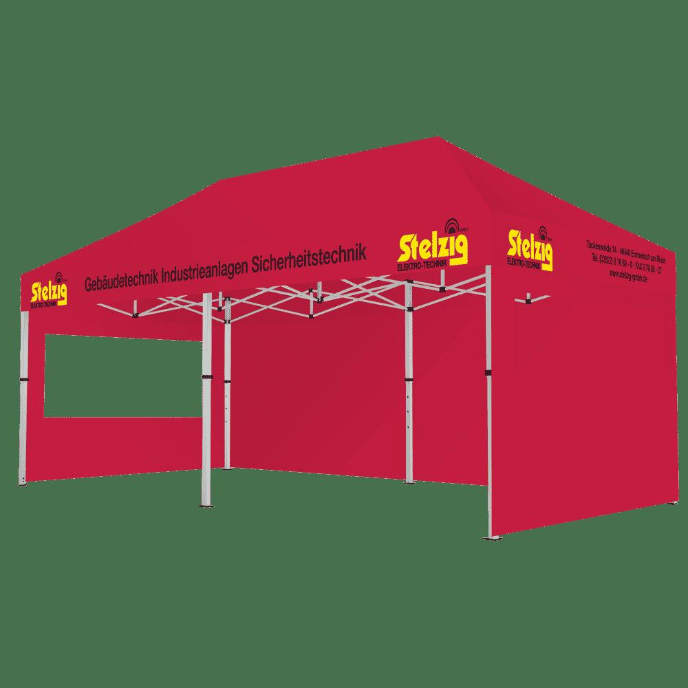 Faltpavillon in Hausfarbe des Kunden mit Volant-Werbung