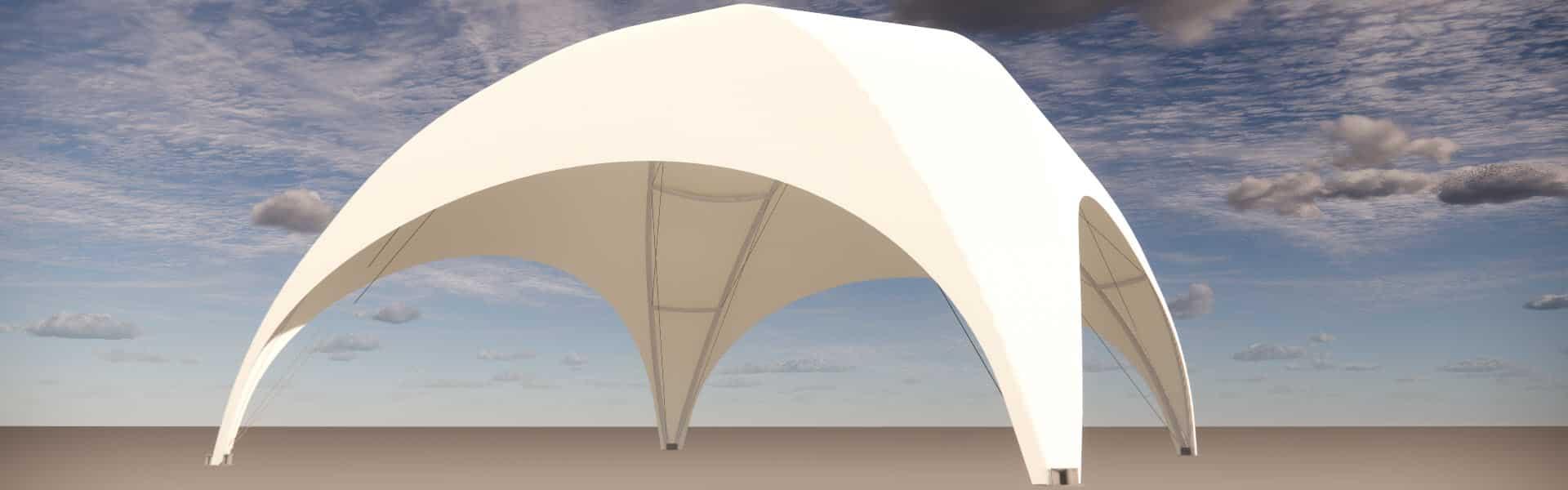 Kuppelbau überdacht 64 Quadratmeter